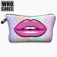 Red Vampire Lips Pink Lips Dot 3D Print Cosmetic Bag Women Makeup Organizer 2017 Who Cares Cosmetic Toiletry with Zipper Neceser