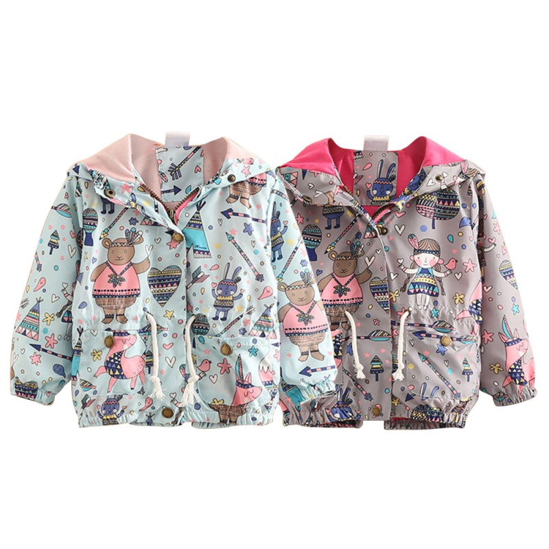 Autumn Baby Girls Coat Cartoon Printed Children Kids Outerwear Jacket Raincoat New Arrival