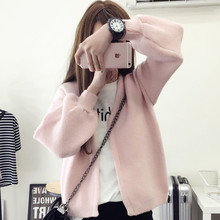 2016 Vintage Knitted Women Sweater Fashion Korean Autumn Women Cardigans Puff Sleeve Pink Gray Black Women Sweaters
