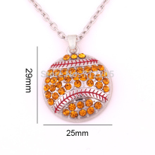 New product  10pcs zinc alloy rhodium Softball Pave Crystal sports Pendant chain necklaces