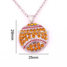 New product 10pcs zinc alloy rhodium Softball Pave Crystal sports Pendant chain necklaces(China)
