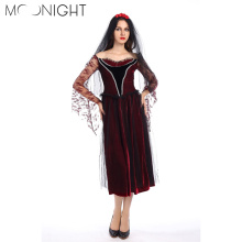 MOONIGHT Black Night Wandering Soul Ghost Bride Costume Women Cosplay Women Ghost Costumes for Halloween Party Dress+Headwear(China)