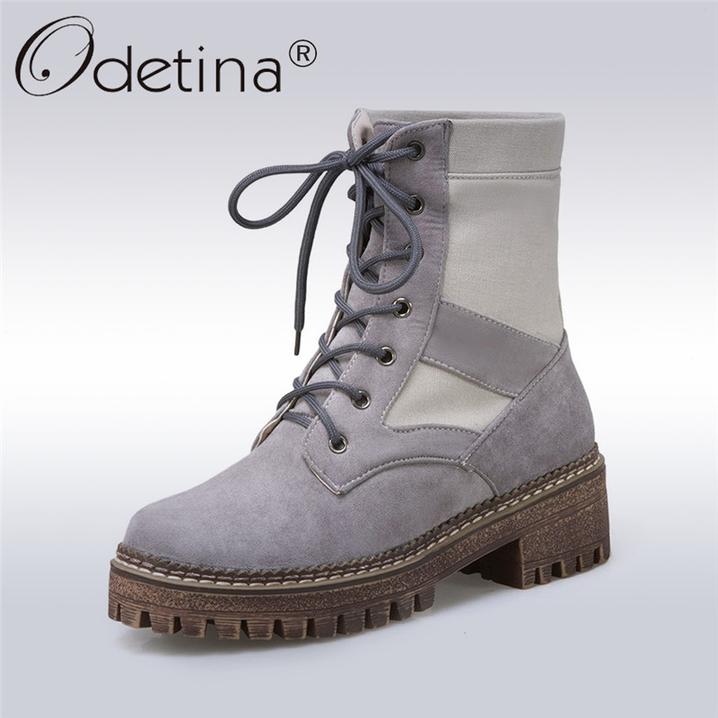 Odetina 2017 Fashion Women Thick Heel Ankle Boots Lace Up Platform Chunky Heel High Top Sneaker Boots Plush Winter Warm Shoes<br>