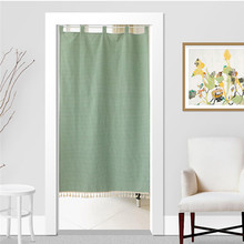 Japan Style Cotton Linen Door Curtain Noren Tapestry Dressing Room Partition Curtain Kitchen/Bathroom Divider Rod Included