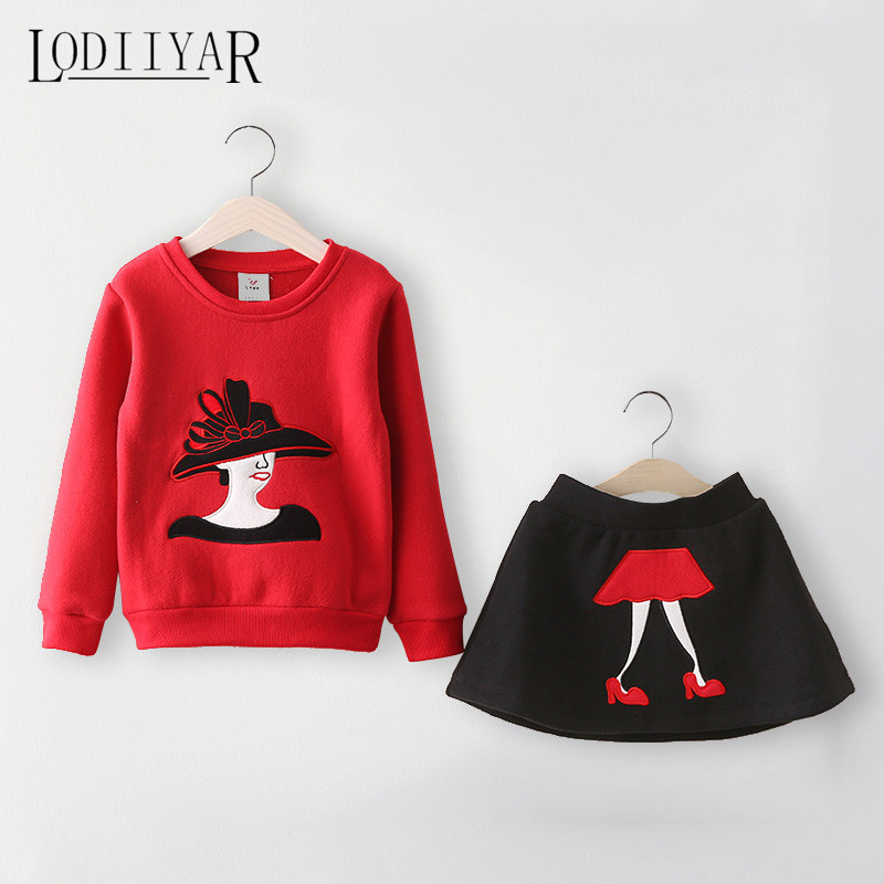 Toddler Girls Clothing Set Long Sleeve Warm Pullover + Skirt Kids Clothes Fashion Character Winter Outerwear Dress <br><br>Aliexpress