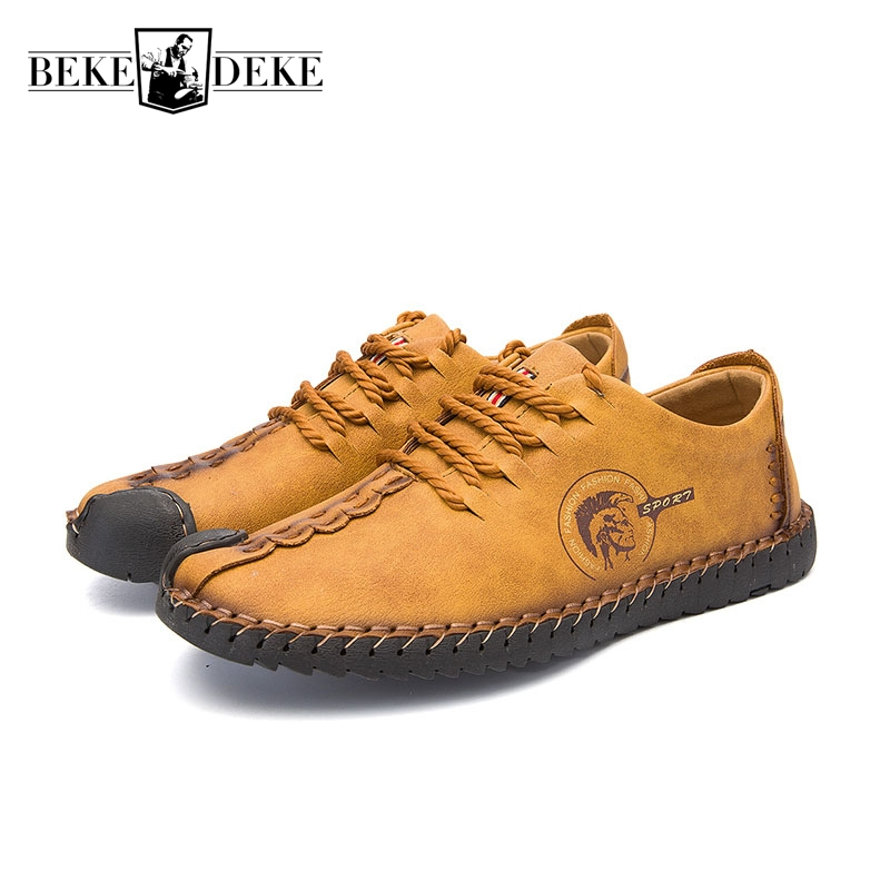 Leather Casual Shoes Men Loafers Lace Up Autumn New Fashion England Style Male Hot Sale Brand Shoes Footwear Retro Plus Size 44<br>