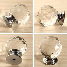4pcs 30mm Diamond Crystal Glass Ball Alloy Door Drawer Cabinet Wardrobe Pull Handle Drop Furniture Knobs And Pulls For Cabinets(China)