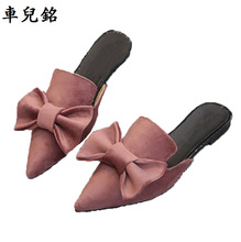 fashion mules summer flower shoes for women flat sandals pointed slipper woman slides black pink green shoes rihanna superstar