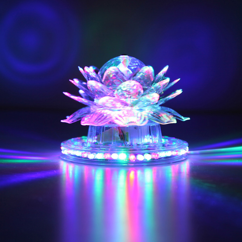 Blooming Lotus Decoration Stage Lighting Effect Auto Rotating Crystal LED Christmas Festival Party Bar Decoration Light FULI<br><br>Aliexpress