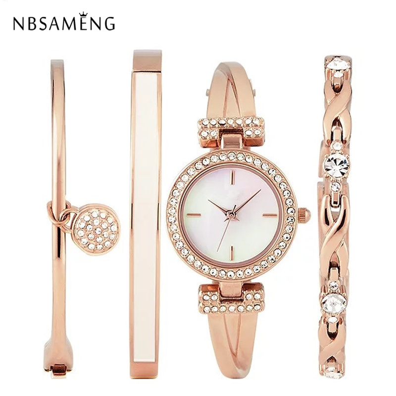 Luxury Women Ladies Watches 2017 Alloy Rose Gold Jewelry Bracelet Wristwatch Women Dress Popular Watch Set 4pcs Relogio Feminino<br>