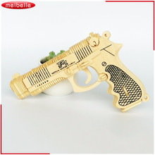 Gun Puzzle Model Kids Children 3D DIY Wooden Toys Pistol Gun Revolver Puzzle Wood Craft Construction Kit Pistol Gift