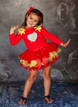 Girls Red Heart Flash Pettitop / Red Yellow Petal Tutu Pettitskirt Party Dress 1-7Y
