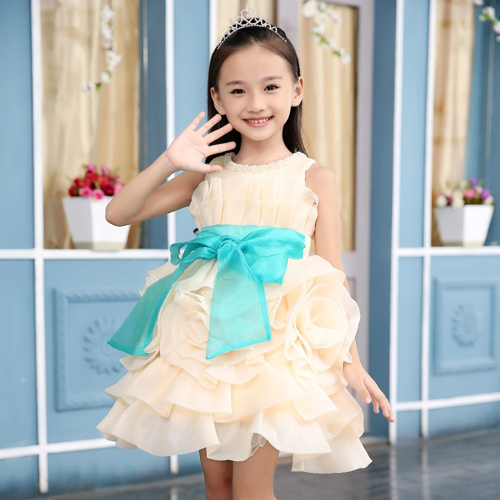 New Arrival 2016 Girls Big Flower Dress Flower Girl Party Dresses Pearl O-neck Sleeveless Princess Birthday costume champagne<br><br>Aliexpress
