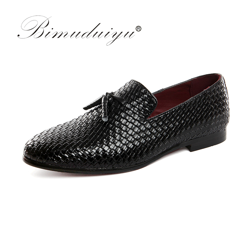 BIMUDUIYU Men Shoes luxury Brand Braid Leather Casual Driving Oxfords Shoes Men Loafers Moccasins Italian Shoes for Men Flats <br>