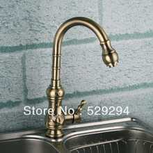 Kitchen faucet,Bronze Brass Chrome sink mixer bar water tap.Gourd-shaped long neck water faucet.Hot&Cold kitchen faucet XK-016