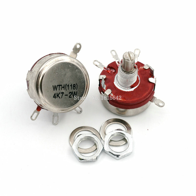 5pcs 10K Ω Ohm WTH118 WTH118-1A 2W Linear Potentiometer