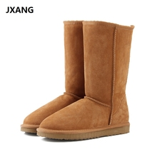 JXANG 패션 Women 눈 Boots 호주 Classic (High) 저 (Quality Genuine Leather Warm women Winter boots botas 보낸 mujer Size 34- 44(China)