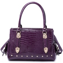 MISS LULU Women Designer Crocodile Print Faux Leather Large Handbag Shoulder Tote Bag Purple LH6642 PE