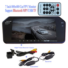 Bluetooth / MP5 / TF / USB 800*480 LED FPV Car Mirror Monitor 7 inch screen + Wireless Backup Rear Waterproof nightvison Camera