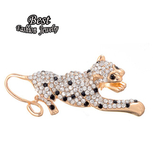 New Arrival Special Full Synthetic Gold Color Tiger Brooch Brilliant Costume Accessory For Women Banquet Jewelry