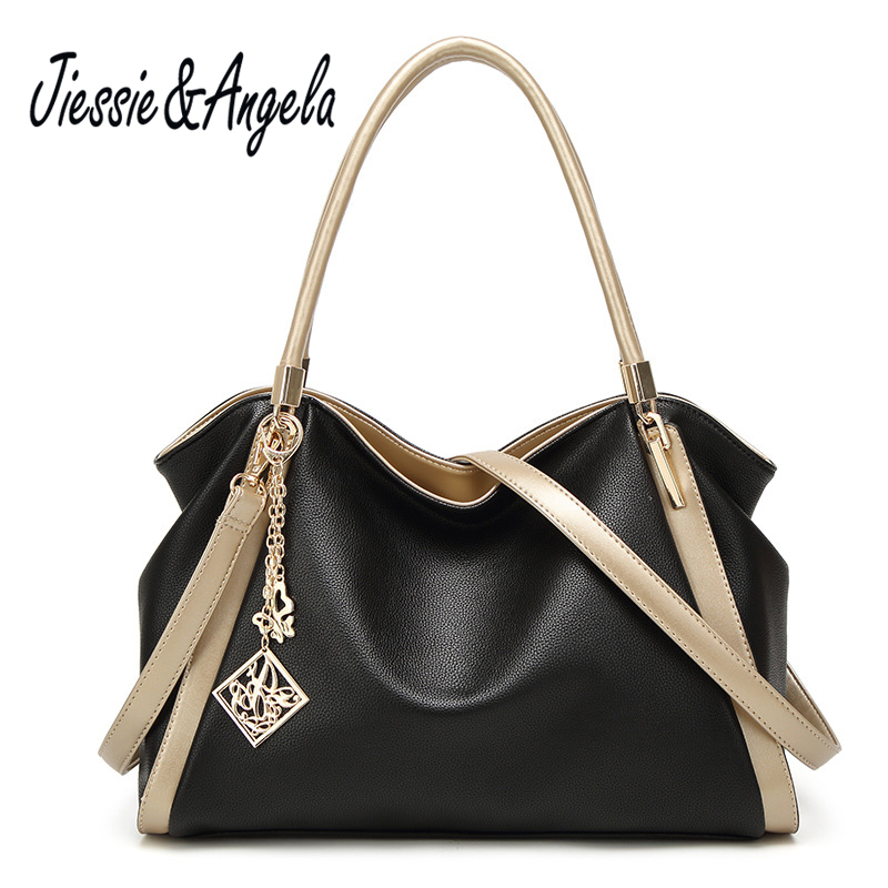 Jiessie &amp; Angela Fashion Big Casual Tote Women Handbag Ladys Fashion Design Leather Shoulder Crossbody Bags Vintage Casual<br>