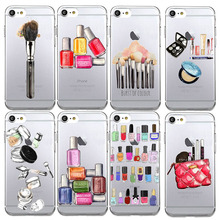 Fashion Charming Sexy Woman Makeup Lipsticks Nail Polish Phone Cases For iphone 5 5s SE 6 6s 7 Plus Soft TPU Silicon Cover Capa