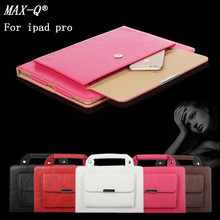 MAX-Q NEW 2016 High Quanlity Carrying HandBag pu Leather Case for iPad pro 9.7 Purse Style Pocket Cover For ipad Pro 12.9