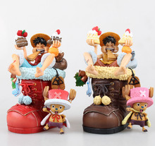 2015 hot sale new 12cm One Piece MH POP Christmas Luffy and Chopper  action figure toys Wholesale