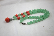 newly design wholesale/retail  8mm light green jades mixed red coral necklace +14 mm 18kgp red coral pearl  pendant