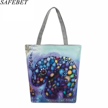 SAFEBET Brand Floral Elephant Printed Canvas Handbag Female Single Shopping Bags Large Capacity Women Canvas Tote Beach Bag(China)