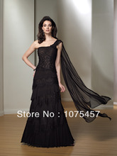 Best Mother of the Bride Dresses 2014 New Fashion Lace and Chiffon One Shoulder Tiered with Beading Free Shipping MJ122