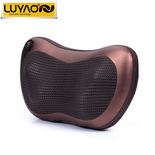LUYAO Vibrating kneading neck massager pillow infrared shiatsu.Electric shoulder back massager car.Cervical vertebra therapy