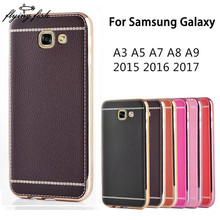 For Samsung Galaxy A3 A5 A7 A8 A9 2017 2016 2015 Case Plating Litchi Leather Grain Soft TPU Phone Retro Case Cover For A710 A510