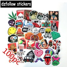 100pcs Mixed funny brand laptap stickers for Home decor jdm on laptop sticker decal fridge skateboard doodle toy(China)