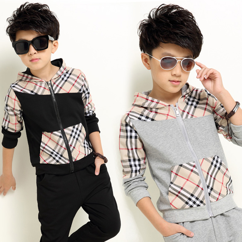 2017 new spring kids clothes boys 2 piece sets patchwork plaid children clothing cotton hooded tracksuit for boy vetement garcon<br><br>Aliexpress