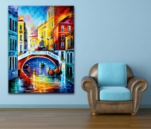 100% Hand-painted Palette Knife Painting USA Italy Venice Cities Architecture Art Picture for Home Office Wall Decor No Frame