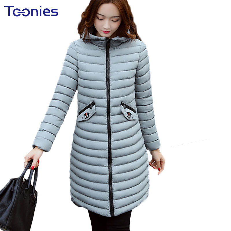 WInter Stripe Hooded Long Down Coats for Pregnant Women Jacket Clothes Fashion Cotton Thick Pocket Maternity Outwear Plus Size<br>