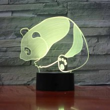 3D Night Light Panda LED Illusion Desk Table Lamp 7 Colors Change USB Cable Touch Button Christmas Birthday Gift Kids Luminaria(China)