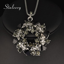 SINLEERY Luxury Vintage Black Cubic Zircon Flower Pendant Long Necklace For Women Black Snake Chain High Quality My344(China)