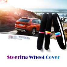 38cm Car Steering Wheel Cover Sporty Velvet Interior Decoration For BMW X1 X3 X5 E36 E39 E46 E30 E60 E90 E92 F30 Car Styling