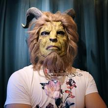 Beauty and the Beast Live Edition Mask Hood cosplay Halloween Prince Beast Mask Stage play show carnival mask(China)