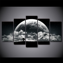 5 Pieces HD Printed Canvas Art Painting Decor Pictures Night Clouds Planets Landscape Wall Art For Living Room Wall Poster