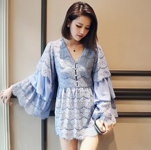 New Women Summer Light Blue Lace Dress Sexy V Collar Lace Chiffon Stitching Flare Sleeve Bohemian Mini Dresses Shirt Dress