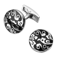 A pair of high quality round black enamel silver cloud cufflinks man wedding jewelry shirts cufflinks new retail(China)