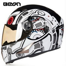 ECE white orange Hawkeye BEON full face motocross Helmet for women, motorcycle MOTO electric bicycle safety headpiece(China)