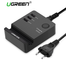 Ugreen 3 Ports phone charger Desktop USB Charger Portable Tarvel EU Plug Wall Charger Adapter for iPhone 6 Mobile laptop Charger(China)