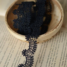 Apparel Sewing Fabric 5 Meters DIY black white Trim Cotton Crocheted Lace Fabric Wedding Decration Handmade Accessories Craft(China)