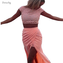 Womens Elegant Lace Crochet Front Splits 2 Piece Set Club Dress 2017 Ladies Sexy Short Sleeve Pink Bodycon Beach Dresses NTDR11