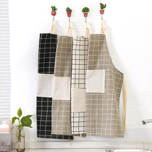1Pcs Plaids Striped Cotton Linen Apron Woman Adult Bibs Home Cooking Baking Coffee Shop Cleaning Aprons Kitchen Accessory 46096