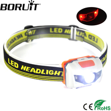 Boruit 800LM Red Light Mini headlamp Waterproof 4-Mode Headlight Camping Hunting Head Frontal Torch Light by AAA Battery
